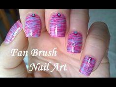 Fan Brush Nail Art Tutorial - Pink & Blue STRIPED NAILS Design - YouTube