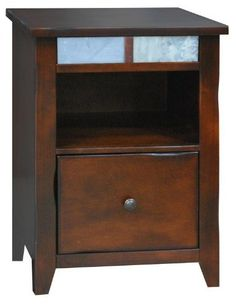 """Fire Creek One Drawer Wood File Cabinet by Legends Furniture in Danish Cherry by Legends Furniture. $397.00. Danish cherry finish.. Made in America.. Constructed of maple solids and veneers.. Overall dimensions are 21-3/4""""W x 21-3/8""""D x 30""""H. Slate tile accents.. This Made in America Legends Furniture Wood One Drawer File from the Fire Creek Collection features Maple solids and veneer construction in a beautiful danish cherry finish. Also has a file drawer and ..."""