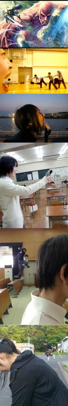 "hahaha ""meanwhile high school students in Japan""!rofl They are so cool. #ShingekiNoKyoujin re-enactment"