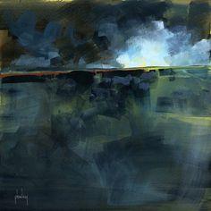 Acrylic semiabstract landscape painting  Dark by PaulBaileyArt