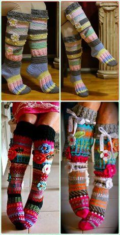 Crochet Knee high Flower Sock Slipper Boots Free Pattern [Video] - Crochet High Knee Crochet Slipper Boots Patterns #SocksCrochetPatterns