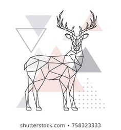 Geometric Deer, Geometric Drawing, Geometric Lines, Abstract Shapes, Porte Photo Mural, Toothpick Sculpture, Line Geometry, Pictogram, Stock Foto