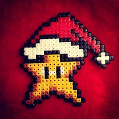 Christmas Mario star perler beads by creativeneko