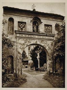 1928 Cemetery Gate Leoben Styria Austria Photogravure - ORIGINAL AUS2 Cool Photos, Amazing Photos, Water Damage, Original Image, Continents, Cemetery, Alter, Austria, Vintage Art