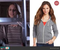 Spencer's grey hoodie on Pretty Little Liars.  Outfit Details: http://wornontv.net/45556/ #PLL