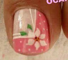Uñas Pedicure Nail Art, Pedicure Designs, Toe Nail Art, Cute Toe Nails, Pretty Nails, Spring Nails, Summer Nails, Hawaiian Nails, Feet Nails