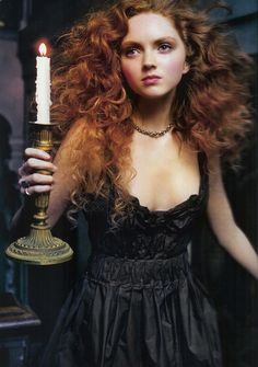 Lily+cole+pics++5.jpg (1058×1506)  Love the candelabra and how soft her hair looks here