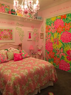 Lilly Pulitzer Room (Mary Lane -Newsweek) How Lovely. Dream Rooms, Dream Bedroom, Girls Bedroom, Bedrooms, My New Room, My Room, Bedroom Themes, Bedroom Decor, Deco Boheme