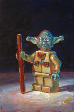 """LEGO Star Wars Yoda"" Original Oil Painting by Raymond Logan"
