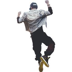 A man in high-top sneakers jumping for joy.