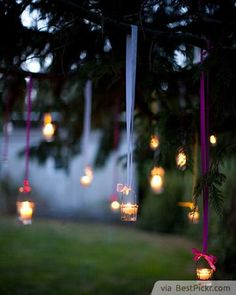 1) LED Cotton Clouds Lighting.  2) Floating Dresses Garden Party Lighting.  3) Bottled Outdoor Candle Lighting.  4) Romantic Wine Glass Candle Lights.  5) Rainbow Glass Bottles Backyard Lighting.  6) Romantic Tree Decoration Lighting.  7) Hanging Tree Candlelights.