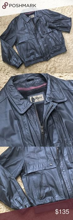 NWOT Mens Vintage Leather Bomber NWOT Mens Leather Bomber. Size 44. Removable Zippered Fur Vest for Extra Warmth. Fully Lined with some discoloration but does not effect the look. Rage Jackets & Coats