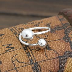 925 Sterling Silver Rings For Women Simple Large Small Beads Open Ring Hypoallergenic Sterling Silver Jewelry