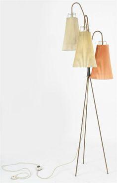 1950's Mid Century Danish Modern Eames Stilnovo Tripod Brass Floor Lamp Light !