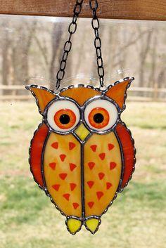 Stained Glass Sun Catcher  - Mystical Owl, Barn Owl, Horned Owl, Original Design