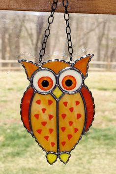 Stained Glass Sun Catcher   Mystical Owl Barn Owl by GLASSbits, $26.00