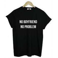"Blusa T-Shirt Preta/Branca - ""NO BOYFRIEND NO PROBLEM"""
