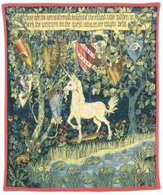 Medieval Heraldry Unicorn Orenco Originals Counted Cross Stitch Chart - William Morris design in a Medieval Arts and Crafts Style William Morris, Medieval Tapestry, Medieval Art, Unicorn Tapestries, Art Nouveau, Legend Of King, Unicorn Art, Unicorn Painting, Arts And Crafts Movement