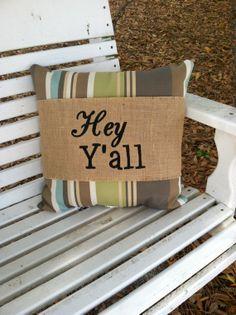 Hey Y'all Monogrammed Burlap Pillow Wrap by EmmabellasDesigns, $28.95
