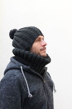 I knit a simple ribbed beanie for my husband for the winter. He is wearing it frequently, especially when going out for coffee or watching football. Make someone you know a hat and cowl with this free knitting pattern.