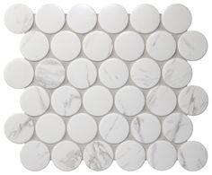 Cookie Circle Ceramic Mosaic Carrara 298*264.5mm #tiles #mosaic #homedecor #walltiles #circlemosaic  #pennyroundmosaic