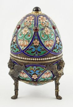 Enameled Imperial Russian silver egg with vermeil interior, makers mark of Khlebnikov, 1908-1917