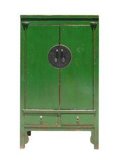 This Chinese moon face cabinet is made of solid elm wood. It's surface painted with green lacquer. It has two drawers and lot of storage room inside, it shelf is adjustable. Lacquer Furniture, Hand Painted Furniture, Handmade Furniture, Asian Furniture, Chinese Furniture, China, Wardrobe Dresser, Wood Storage Cabinets, Cupboards