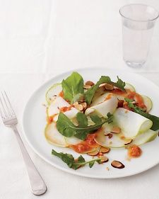 When using raw kohlrabi in a salad, it's important to use a mandoline to slice it wafer-thin. This allows you to make the most of its delicate, crunchy texture. The dressing's creamy roasted garlic is an ideal counterpart to the crisp kohlrabi.