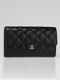 Chanel Black Quilted Lambskin Leather Long Flap Wallet