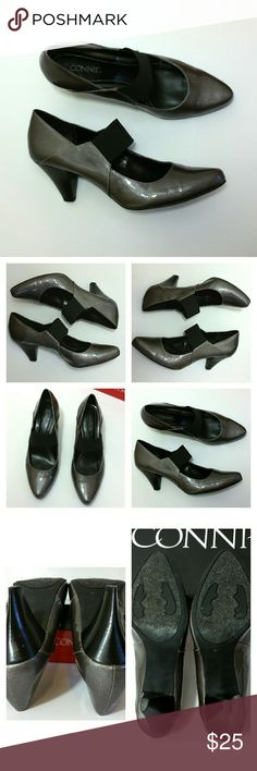Patent Gray Mary Jane Pumps Patent Gray Mary Jane Pumps. Minor heel wear otherwise EUC. Comes w/ box.  Elastic strap. Medium width.   No Trade or PP  Offers Considered  Bundle discounts Connie Shoes Heels
