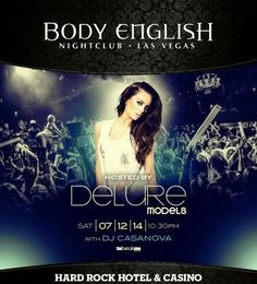 Body English Nightclub Las Vegas Saturday July 12th hosted by Delure Models. Contact 702.741.2489 City VIP Concierge for Table and Bottle Service, Tickets and the BEST of Any & Everything Fabulous in Las Vegas!!! #BodyEnglishLasVegas #VegasNightclubs #LasVegasBottleService #CityVIPConcierge CALL OR CLICK TO BOOK http://www.cityvipconcierge.com/las-vegas-nightlife.html
