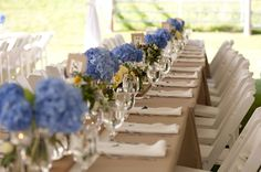 A Blue and Yellow Washington Backyard Wedding  // photo by Saleina Marie Photography