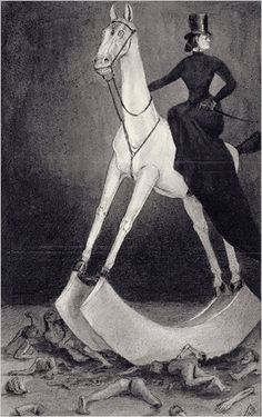"""Die Dame auf dem Pferd (The Lady on the Horse)"" (circa 1900-01) by Alfred Kubin."