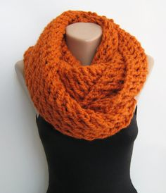 Orange chunky infinity scarf, knit loop scarf, winter scarf