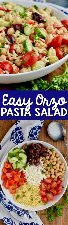This Easy Orzo Pasta Salad is delicious and combines the perfect flavors in this Mediterranean salad. It makes such a great side dish!