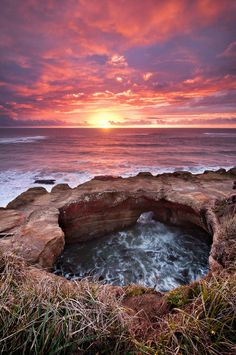 ~~Heavens open up over Devil's Punchbowl ~ Pacific Ocean sunset, Newport, Oregon by Deej6~~