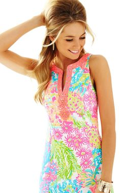 RYDER SHIFT DRESS DESCRIPTION The Ryder Shift is simply LILLY. This bra-friendly printed shift dress has a notched neckline with beading details. When planning a spring getaway, be sure to pack an eas