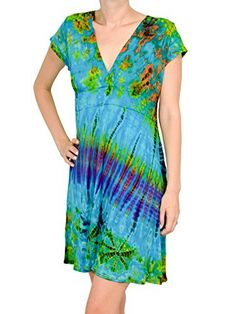 Orient Trail Womens Hippie Tiedye Rainbow Short Sleeve Casual Dress * Learn more by visiting the image link.