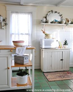 the secret to creating farmhouse christmas style in your kitchen, kitchen design, seasonal holiday decor, Simplicity is key to creating the farmhouse look A red striped bowl and a small ironstone bowl cradling a Christmas tree add understated holiday spirit