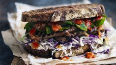 Reinventing a classic ... steak sandwich with coleslaw and tomato chilli relish.