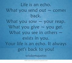 Life is an echo. What you send out ~ comes back. What you sow ~ your reap. What you give ~ you get. What you see in others ~ exists in you. Your life is an echo. It always get's back to you!