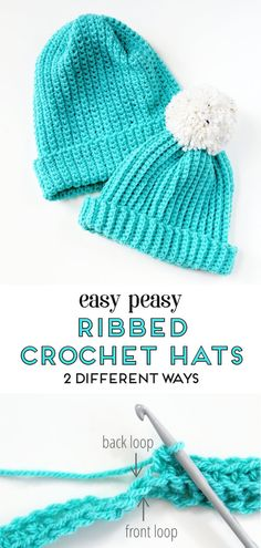 Easy peasy ribbed crochet hats with free pattern - 2 different ways   crochet  hat 11f85fcb92