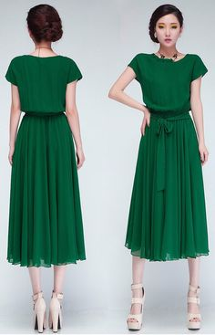 Green Plain Short Sleeve Wrap Chiffon Maxi Dress - Happy Hour