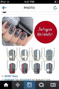 This is good to match your school skirt if it's this pattern of corse Nail Design, Nail Art, Nail Salon, Irvine, Newport Beach