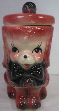 USA Pottery, Bisque Pink Poodle Cookie Jar