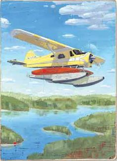 Cargo Plane illustration by Phil, arcylic on wood. Represented by #i2iart
