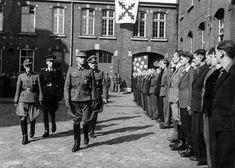 "1943 Belgium, Namur, The ""Lieutenant"" Leon Degrelle reviews of recruits Sturmbrigade Wallonien"