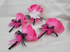 Wedding Bridal Bouquets Your Colors 18 pcs Package Fuchsia Hot