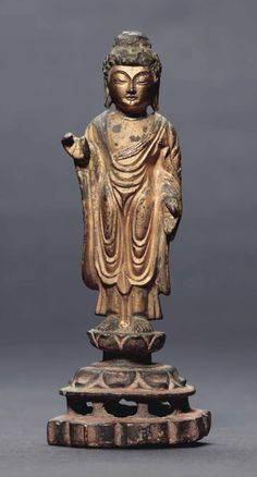 A GILT-BRONZE STANDING FIGURE OF BUDDHA | UNIFIED SILLA DYNASTY (8TH CENTURY) | Asia, All other categories of objects | Christie's Sculpture Art, Sculptures, Theravada Buddhism, Standing Buddha, Buddhist Philosophy, Korean Art, Buddhist Art, Art And Architecture, Travel Posters
