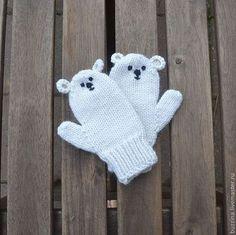 Kids' mittens / Варежки, митенки, перчатки ручной работы. Ярмарка Мастеров - ручная работа. Купить Варежки для детей Полярный мишка, варежки вязаные, варежки детские. Handmade.